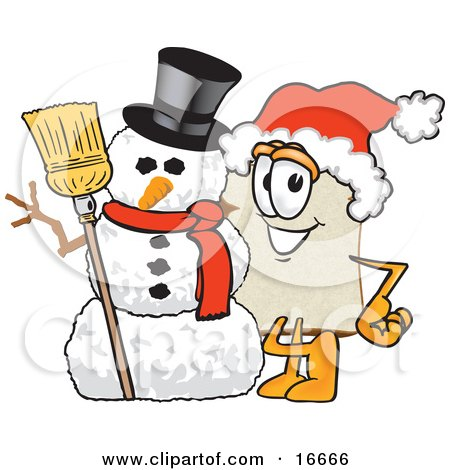 Clipart Picture of a Slice of White Bread Food Mascot Cartoon Character Wearing a Santa Hat and Standing With Frosty the Snowman on Christmas by Toons4Biz