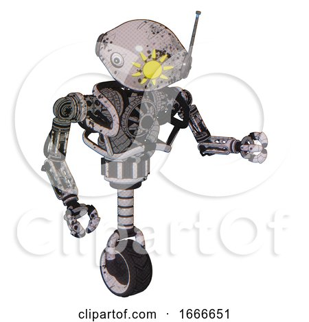 Droid Containing Oval Wide Head and Sunshine Patch Eye and Retro Antenna with Light and Heavy Upper Chest and No Chest Plating and Unicycle Wheel. Grunge Sketch Dots. Fight or Defense Pose.. by Leo Blanchette