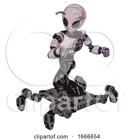 Bot Containing Grey Alien Style Head and Black Eyes and Bug Antennas and Light Chest Exoshielding and Chest Valve Crank and Insect Walker Legs. Sketch Pad Doodle Lines. Fight or Defense Pose.. by Leo Blanchette