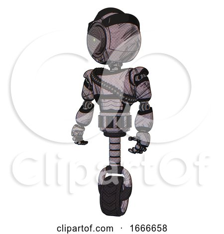 Mech Containing Green Dot Eye Corn Row Plastic Hair and Light Chest Exoshielding and Rubber Chain Sash and Unicycle Wheel. Dark Sketchy. Standing Looking Right Restful Pose. by Leo Blanchette
