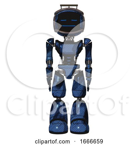 Mech Containing Digital Display Head and Sleeping Face and Led and Protection Bars and Light Chest Exoshielding and Ultralight Chest Exosuit and Light Leg Exoshielding. Grunge Dark Blue. Front View. by Leo Blanchette