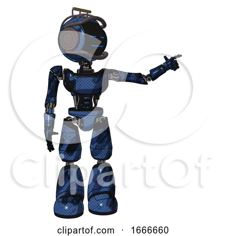 Mech Containing Digital Display Head and Sleeping Face and Led and Protection Bars and Light Chest Exoshielding and Ultralight Chest Exosuit and Light Leg Exoshielding. Grunge Dark Blue. by Leo Blanchette