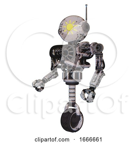 Droid Containing Oval Wide Head and Sunshine Patch Eye and Retro Antenna with Light and Heavy Upper Chest and No Chest Plating and Unicycle Wheel. Grunge Sketch Dots. Facing Right View. by Leo Blanchette
