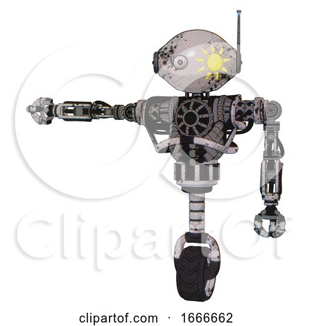 Droid Containing Oval Wide Head and Sunshine Patch Eye and Retro Antenna with Light and Heavy Upper Chest and No Chest Plating and Unicycle Wheel. Grunge Sketch Dots. by Leo Blanchette