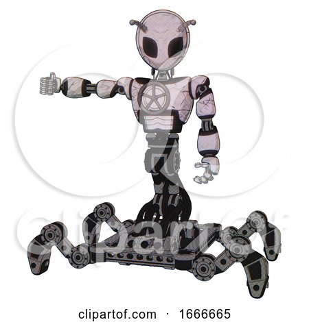 Bot Containing Grey Alien Style Head and Black Eyes and Bug Antennas and Light Chest Exoshielding and Chest Valve Crank and Insect Walker Legs. Sketch Pad Doodle Lines. by Leo Blanchette