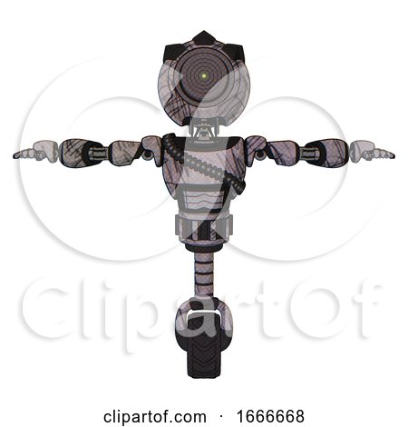 Mech Containing Green Dot Eye Corn Row Plastic Hair and Light Chest Exoshielding and Rubber Chain Sash and Unicycle Wheel. Dark Sketchy. T-pose. by Leo Blanchette