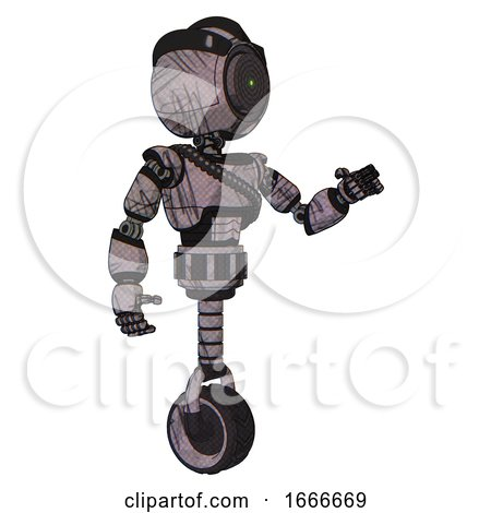 Mech Containing Green Dot Eye Corn Row Plastic Hair and Light Chest Exoshielding and Rubber Chain Sash and Unicycle Wheel. Dark Sketchy. Interacting. by Leo Blanchette