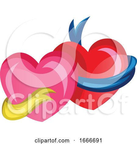 A Pink Heart with a Yellow Ribbon and a Red Heart with a Blue Ribbon Posters, Art Prints