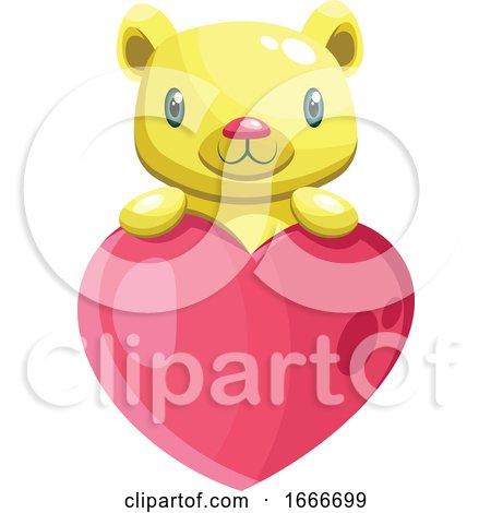 Cute Yellow Bear Holding a Big Pink Heart Posters, Art Prints