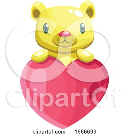 Cute Yellow Bear Holding a Big Pink Heart by Morphart Creations