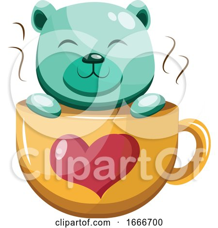 Turquoise Bear in a Yellow Cup with a Red Heart by Morphart Creations