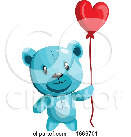 Blue Bear Holding a Heart Shaped Red Balloon Posters, Art Prints