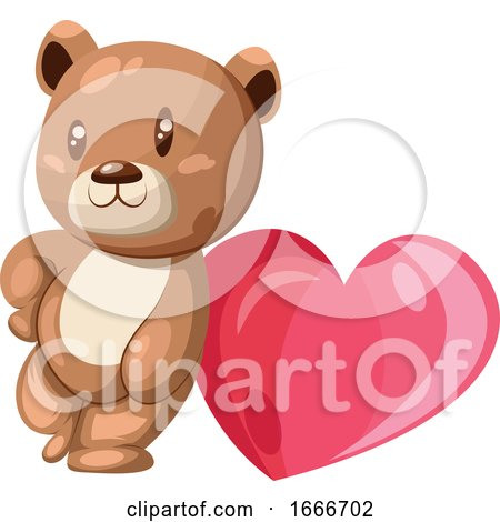 Brown and White Bear Leaning on a Big Pink Heart Posters, Art Prints