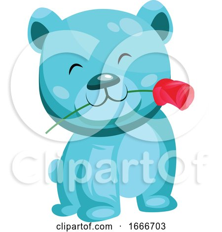 Turquoise Bear Holding a Red Rose in His Mouth by Morphart Creations