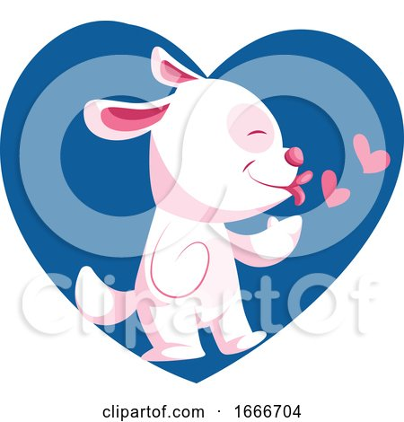Light Pink Dog Throwing Kisses by Morphart Creations