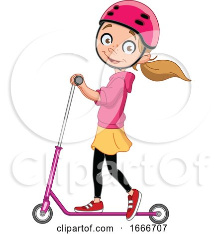 Girl Playing with a Scooter by yayayoyo