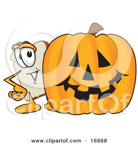 Clipart Picture of a Slice of White Bread Food Mascot Cartoon Character Standing Behind a Halloween Pumpkin by Toons4Biz