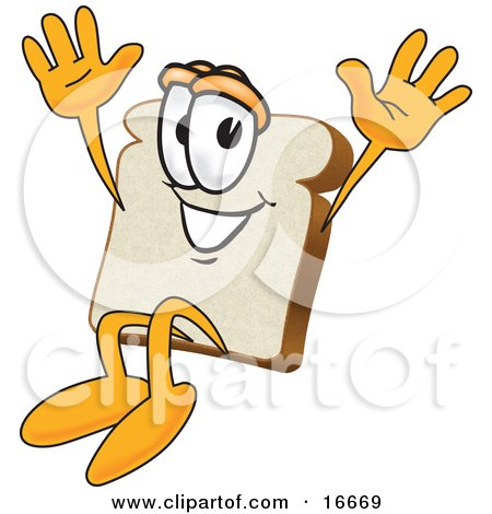 Clipart Picture of a Slice of White Bread Food Mascot Cartoon Character Jumping With Excitement by Toons4Biz