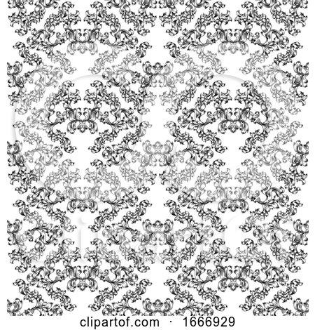 Floral Motif Scroll Pattern Seamless Tile by AtStockIllustration
