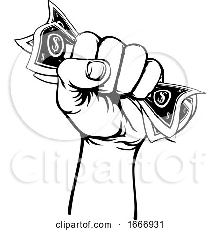 Fist Hand Holding Cash Money by AtStockIllustration