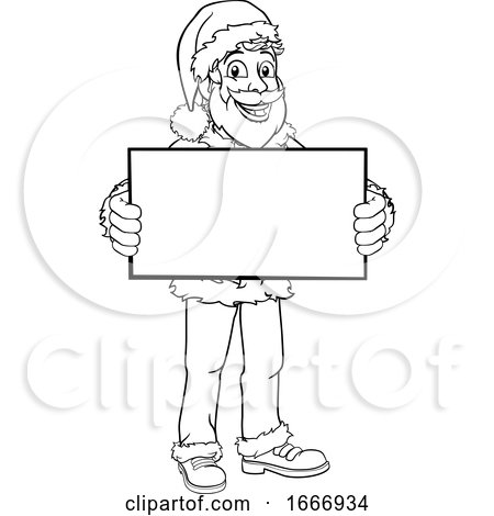 Young Santa Claus Holding Sign Christmas Cartoon by AtStockIllustration