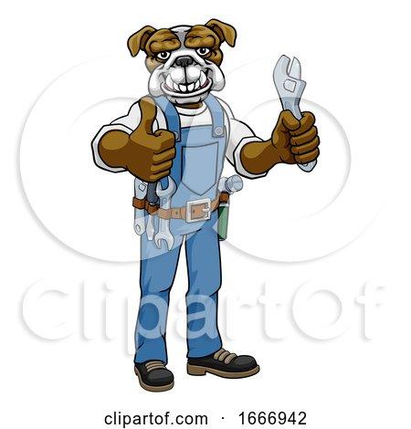 Bulldog Plumber or Mechanic Holding Spanner by AtStockIllustration