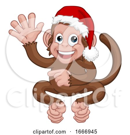 Christmas Monkey Cartoon Character in Santa Hat by AtStockIllustration
