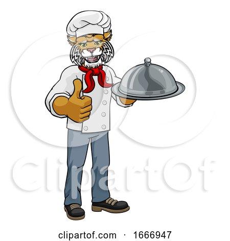 Wildcat Chef Mascot Cartoon Character by AtStockIllustration