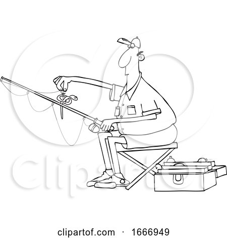 Cartoon Black and White Man Putting a Worm on a Fishing Hook by djart