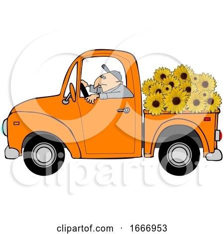 Cartoon Farmer Driving a Truck Full of Sunflowers by djart