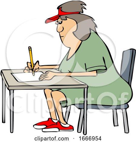 Cartoon Woman Writing at a Desk by djart