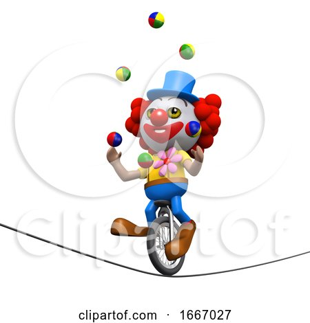 3d Clown Juggles on a Unicycle on a Highwire by Steve Young