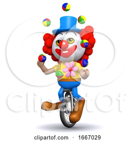 3d Clown Juggles on a Unicycle by Steve Young