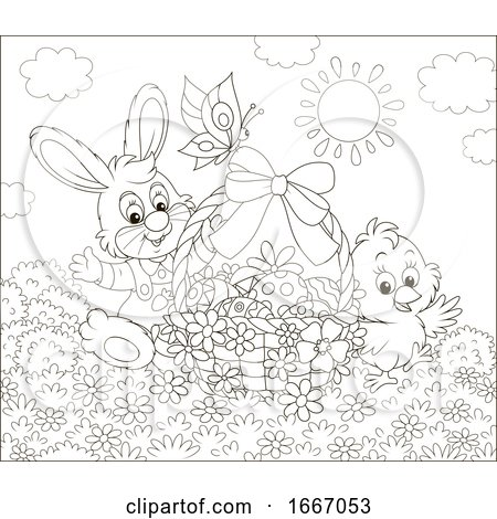 Easter Basket with a Chick and Bunny Posters, Art Prints
