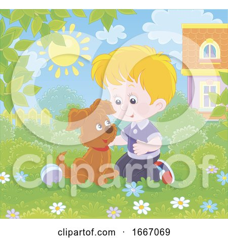 Boy Playing with a Puppy Dog Posters, Art Prints