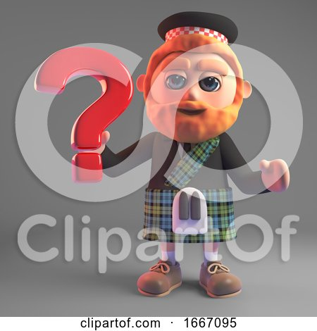 Scottish Man in Kilt with a Red Beard Holding a Question Mark Symbol, 3d Illustration Render by Steve Young