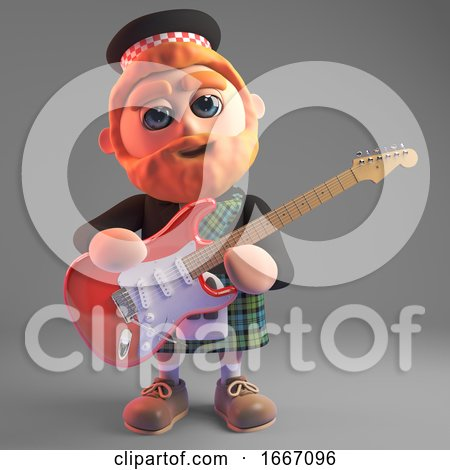 3d Bearded Scottish Man in Kilt Playing an Electric Guitar, 3d Illustration by Steve Young