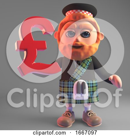 Cartoon 3d Bearded Scottish Man in Kilt Holding a UK Sterling Pounds Currency Symbol, 3d Illustration by Steve Young