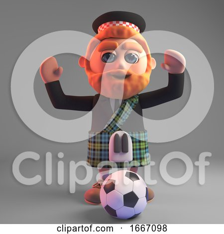 3d Bearded Scottish Man in Kilt Playing Football, 3d Illustration by Steve Young