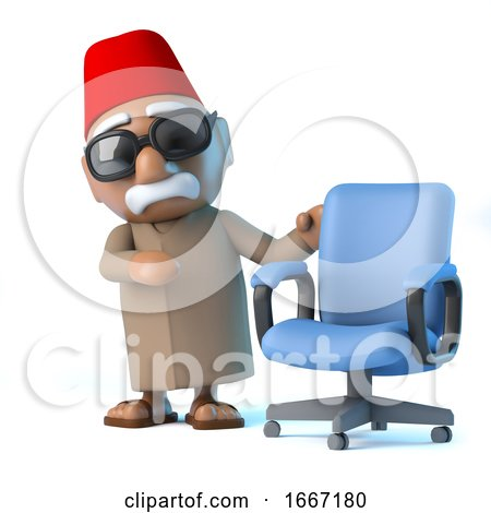 3d Moroccan with an Empty Office Chair by Steve Young