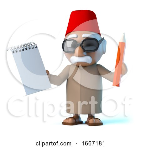 3d Moroccan Holding a Notepad and Pencil by Steve Young