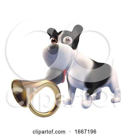 3d Funny Puppy Dog with Black and White Markings Holds an Old Car Horn in Its Mouth, 3d Illustration Posters, Art Prints