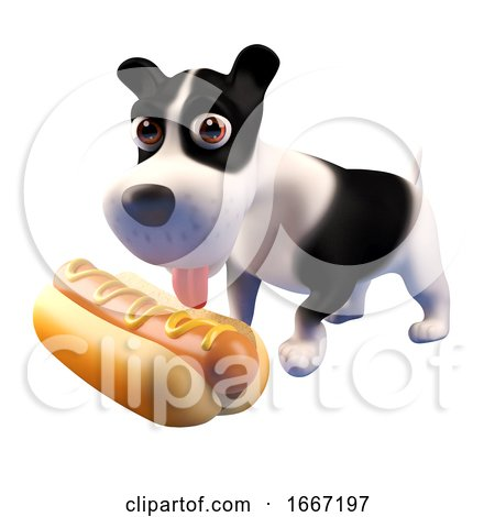3d Hungry Puppy Dog Looks at a Giant Hot Dog Food Snack, 3d Illustration Posters, Art Prints