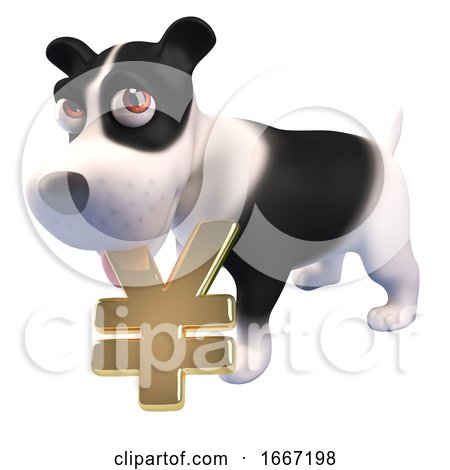 3d Cute Puppy Dog Holding a Gold Yen or Yuan Currency Symbol in Its Mouth, 3d Illustration Posters, Art Prints