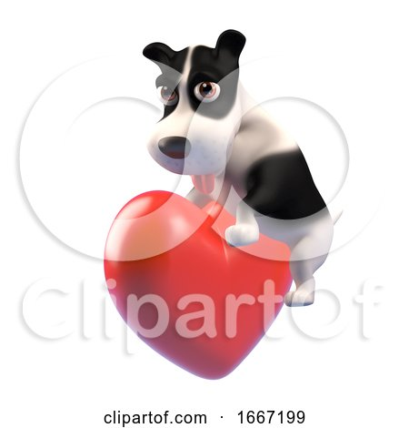 3d Cute Puppy Dog Is Feeling All Romantic and Hugging a Red Heart, 3d Illustration Posters, Art Prints