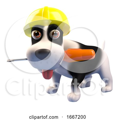 3d Cute Puppy Dog Wearing a Safety Hard Hat and Holding a Screwdriver in Its Mouth 3d Illustration Posters, Art Prints
