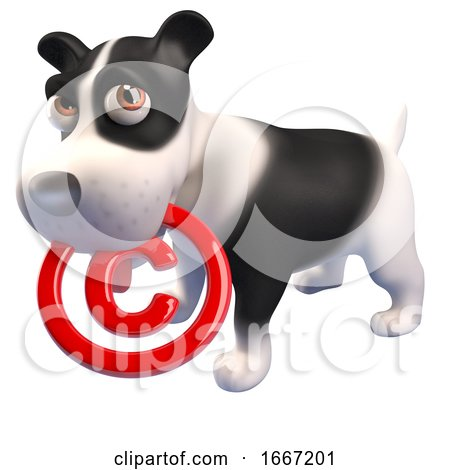 3d Cute Puppy Dog Holding a Copyright Symbol in Its Mouth, 3d Illustration Posters, Art Prints