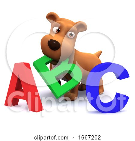 3d Puppy Dog Learns the Alphabet Posters, Art Prints