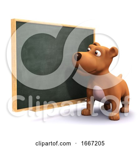 3d Puppy Dog at the Blackboard Posters, Art Prints