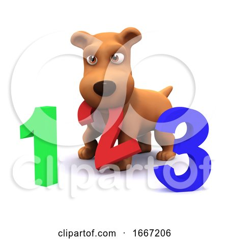 3d Puppy Dog Learns to Count Posters, Art Prints